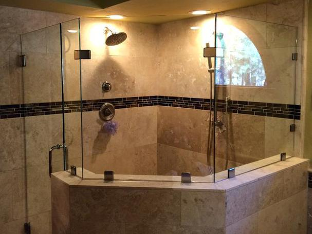 competed large custom frameless glass shower door