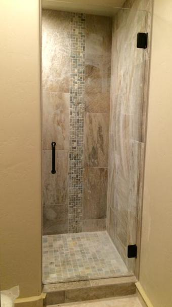 frameless glass shower door bronze hardware