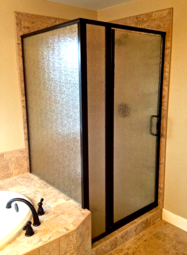 Install framed glass shower door brushed chrome