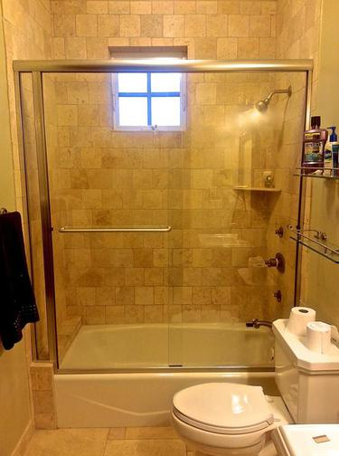 sliding semi frameless glass shower enclosure brushed chrome flagstaff