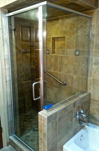 custom shower door enclosure brushed chrome flagstaff